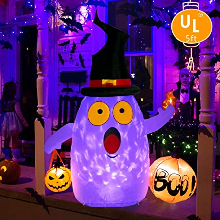 OurWarm Halloween Inflatables 9FT Blow Up Ghost with LED Rotating Light for  Halloween Indoor/Outdoor Yard Lawn Party Decorations