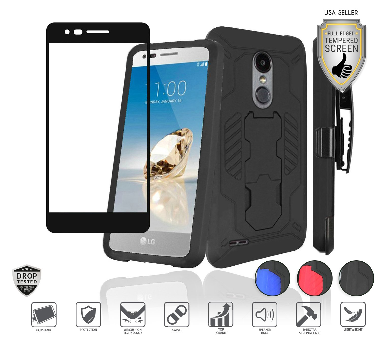 Compatible for LG Aristo 3 Plus/3/2,Fortune 2,K8,Phoenix 4,Rebel 3/4,Risio 3,Tribute Empire, Zone 4 Case with Tempered Glass, Holster Clip Combo Stand (Black/Black)