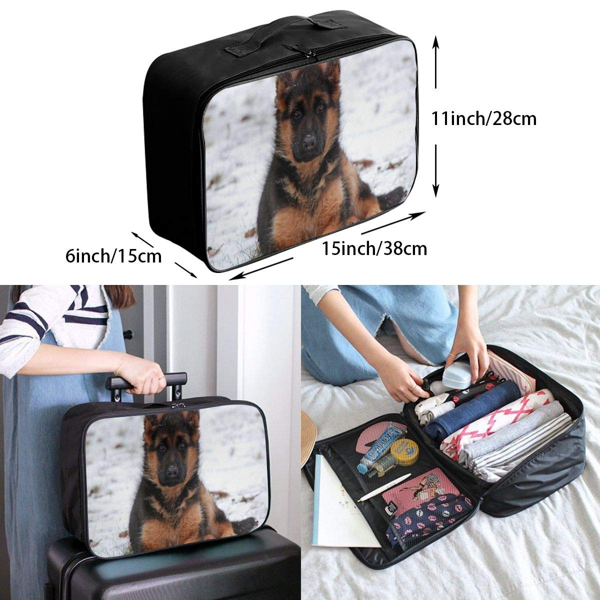 Lightweight Large Capacity Portable Luggage Bag Cute Santa Claus Travel Waterproof Foldable Storage Carry Tote Bag
