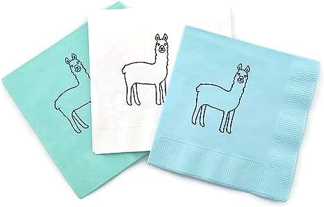 Party Napkins Llama Napkins Blue and Mint Llama Cactus Llama Baby Shower Llama Party Supplies Llama Birthday