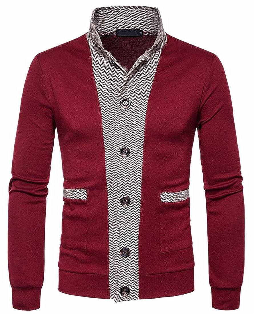 Jaycargogo Mens Slim Contrast Color Knit Long Sleeve Cardigan Sweater Wine Red XXS