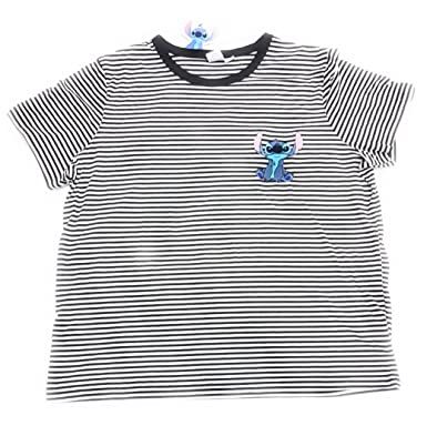 8bd525262c2282 Primark Ladies Girls Disney Stitch Embroidered Stripe Womens T-Shirt Top T- Shirt by Bend The Trend2: Amazon.co.uk: Clothing