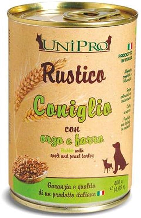 Unipro Rustico - Comida húmeda de conejo con orzo y espelta para perros y gatos,