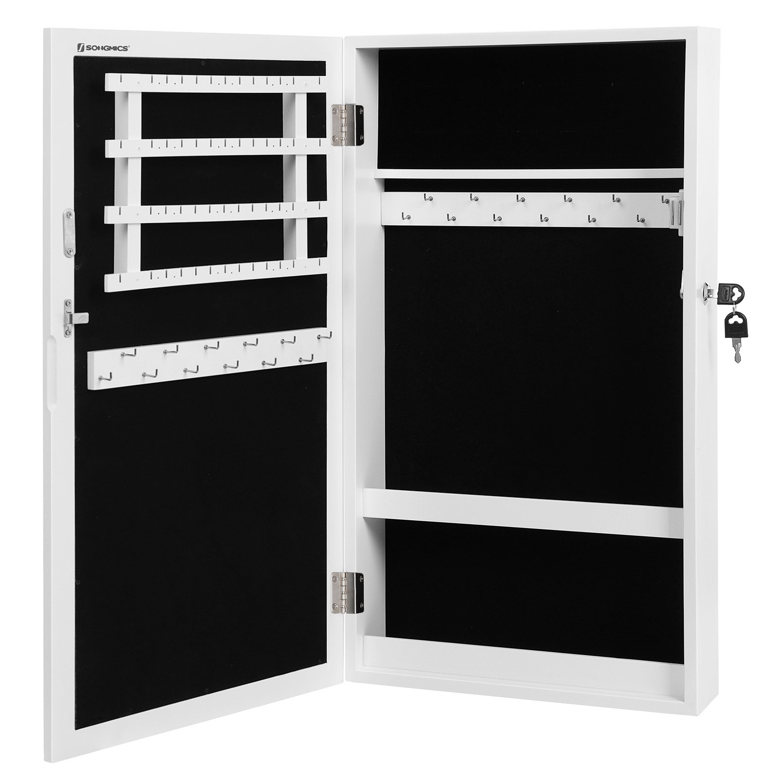 SONGMICS Lockable Jewelry Cabinet Armoire with Mirror, Wall-Mounted Space Saving Jewelry Storage Organizer White UJJC51WT by SONGMICS (Image #8)