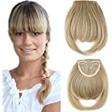 One Piece Straight Bang Clip In On Bang Fringe Hair Extensions For Women Ladies Fashion - Ash Blonde Mix Bleach Blonde