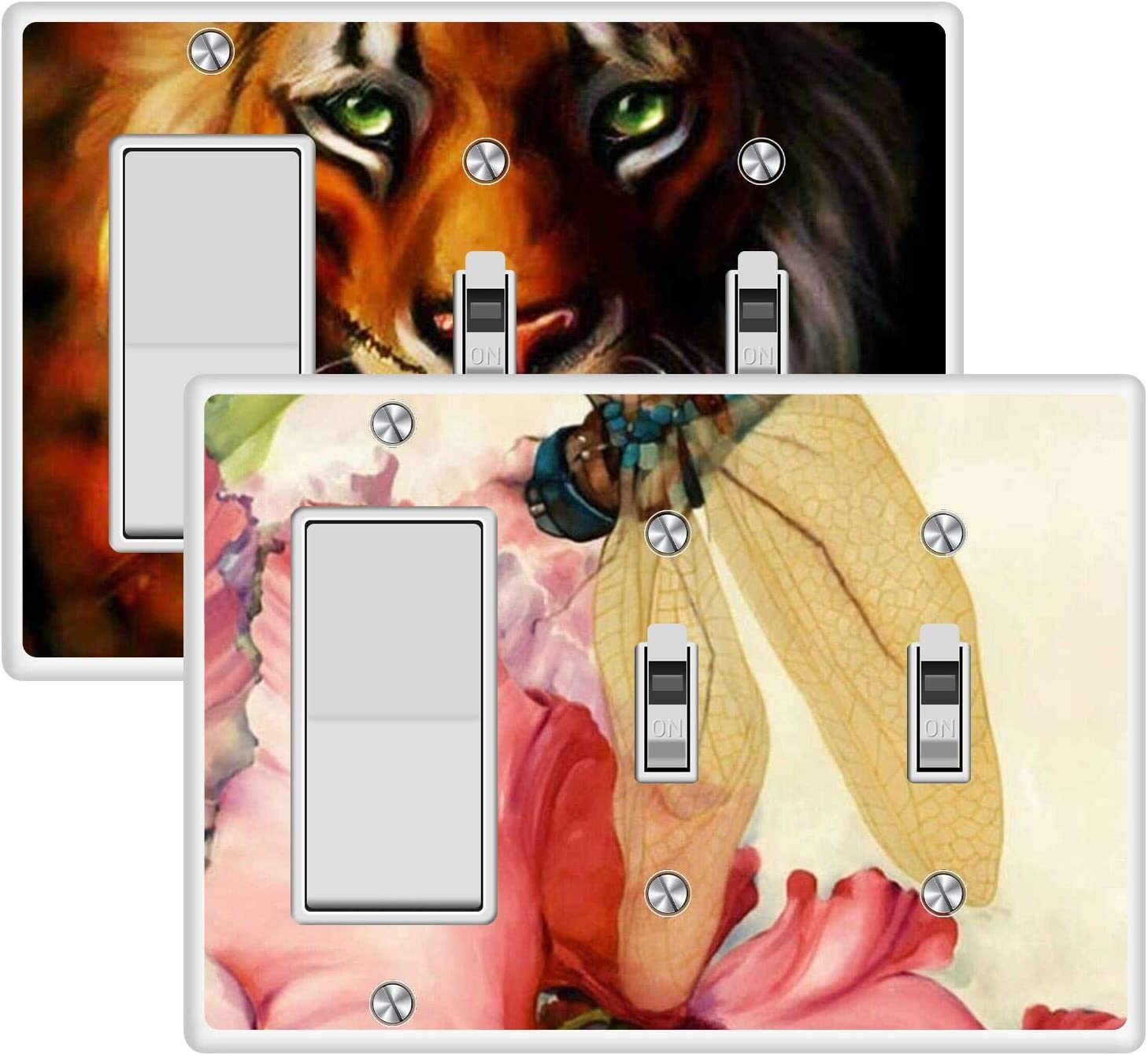 KANGHAR Wallplates Tiger Maple Dragonfly and Red Flower Square Single Decor+Double Toggle White Outlet Wall Plate Cover