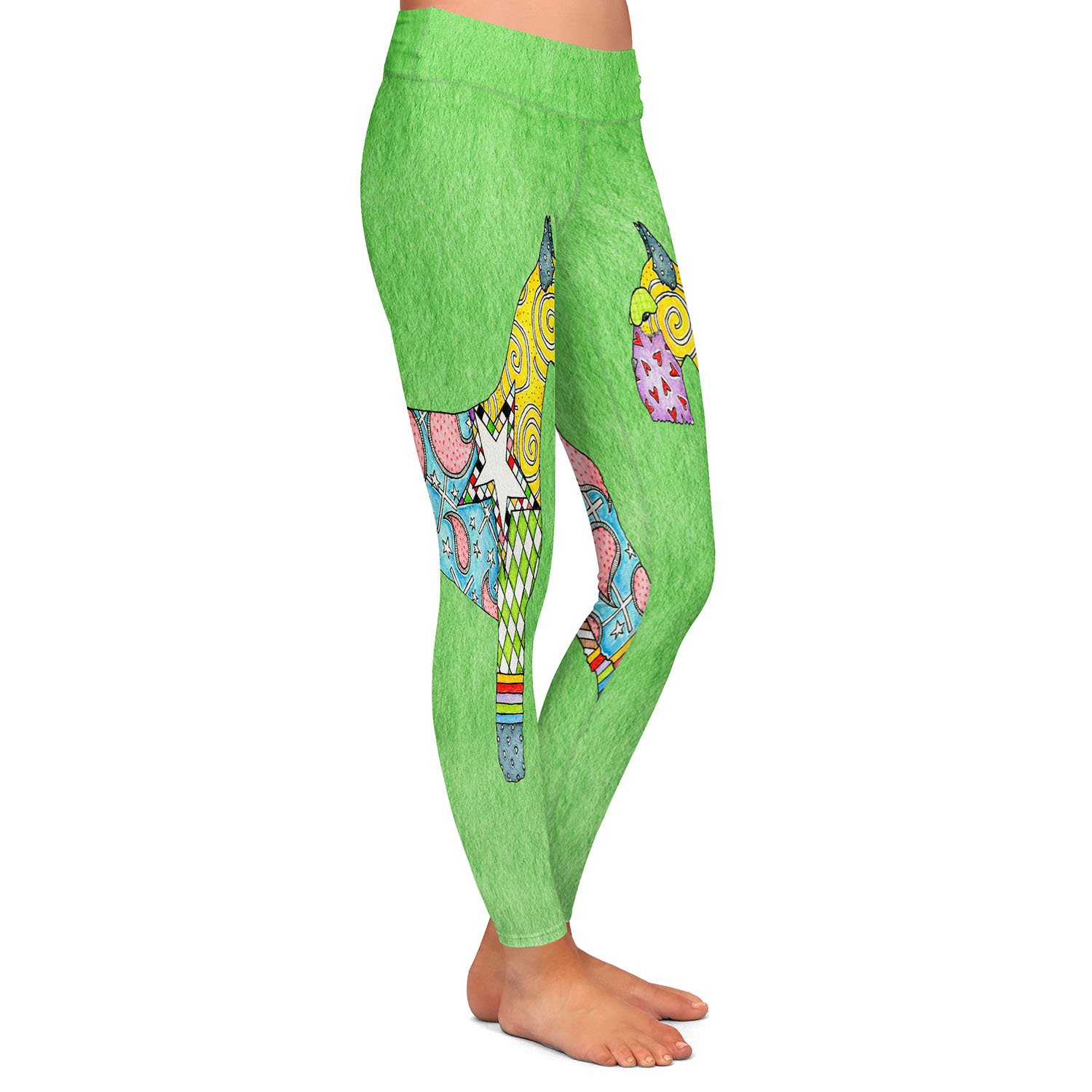Athletic Yoga Leggings from DiaNoche Designs by Marley Ungaro Giant Schnauzer Green