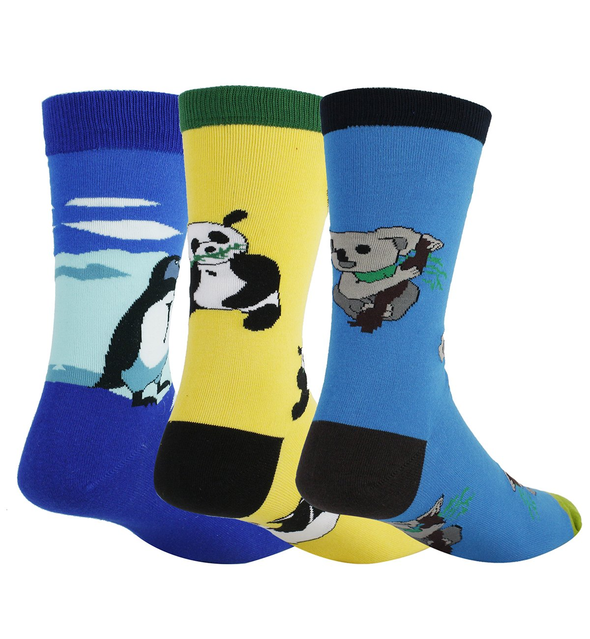 3 Pack Men's Crazy Cool Animals Pattern Novelty Crew Cotton Funny Socks by Happypop (Image #1)
