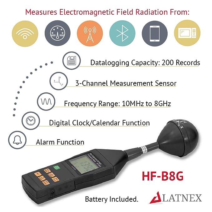 Amazon.com: RF EMF Medidor HF-B8G Alta Frecuencia 10Mhz-8Ghz ...