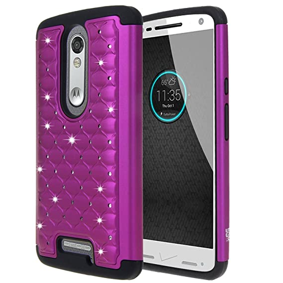 Droid Turbo 2 Case, SGM (TM) Hybrid Gel Rhinestone Bling Armor Defender Case