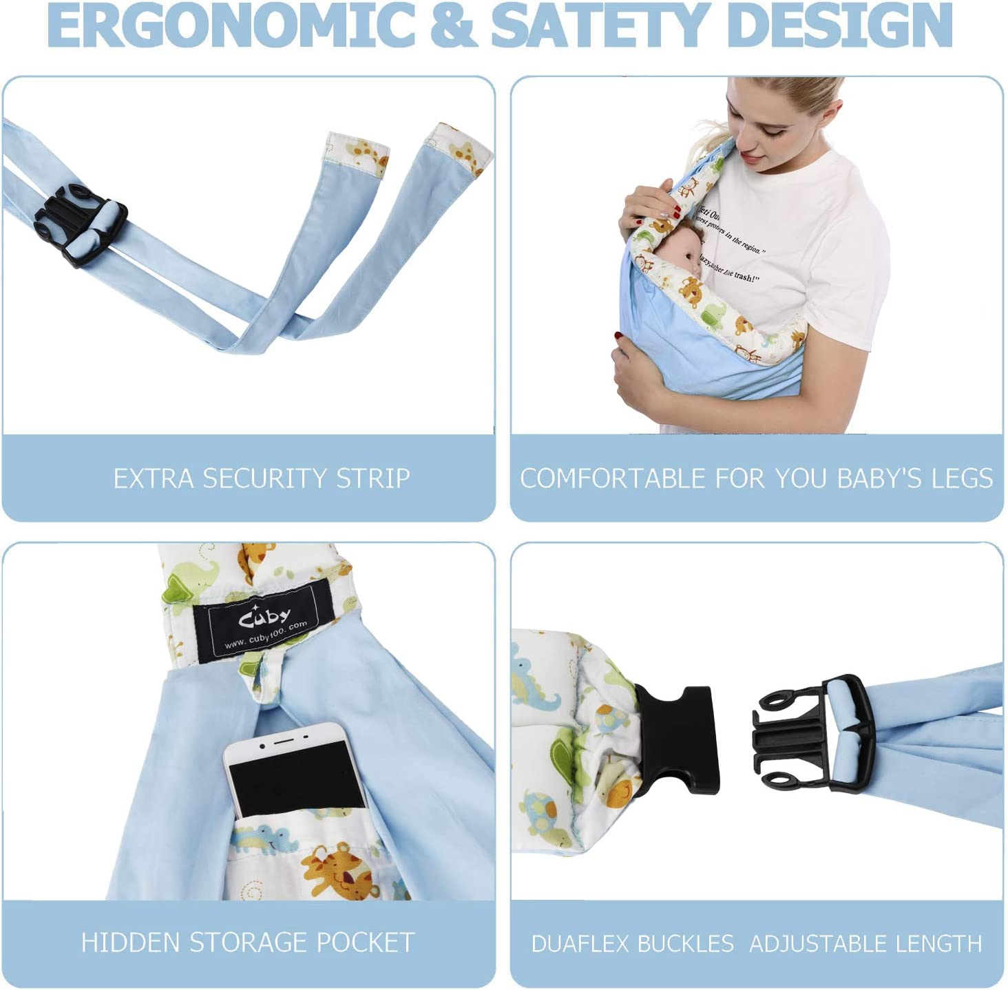 Blue Cuby Baby Slings Carrier for Newborns and Breastfeeding
