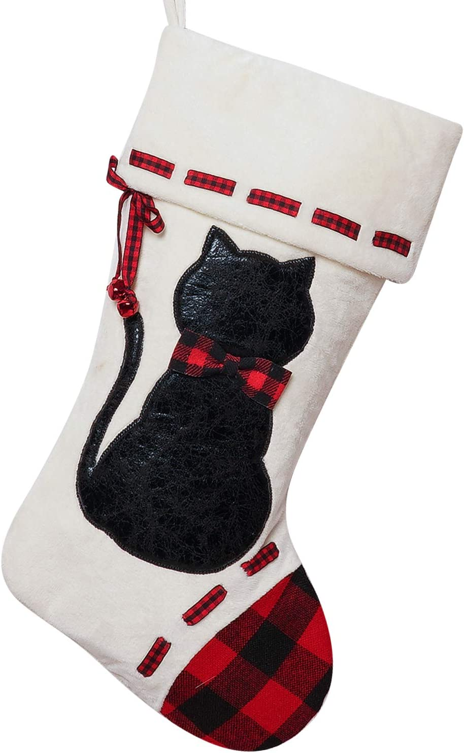 ALLYORS Dog Cat Christmas Stocking, 19''Xmas Pet Hanging Stockings with Fuzzy Santa Hat and Plush Doggie Kitty Embroidered for Pets Gifts Bag Personalized Cuff Lovely Home Holiday Decoration (wcat)