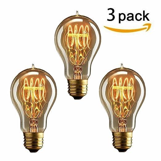 63 opinioni per KINGSO 3 pcs A19 Vintage lampadina con gabbia filamento, 40W Dimmerabile Edison