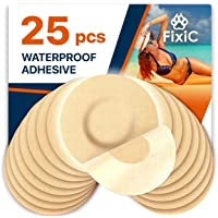Fixic Freestyle Adhesive Patch 25 PCS - Enlite - Guardian - NO Glue in The Center of Patch - Pre Cut Back Paper - Tan Color - Best Long Fixation for Your Sensor!