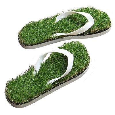GAXmi Women Men Summer Casual Artificial Lawn Grass Flip Flop
