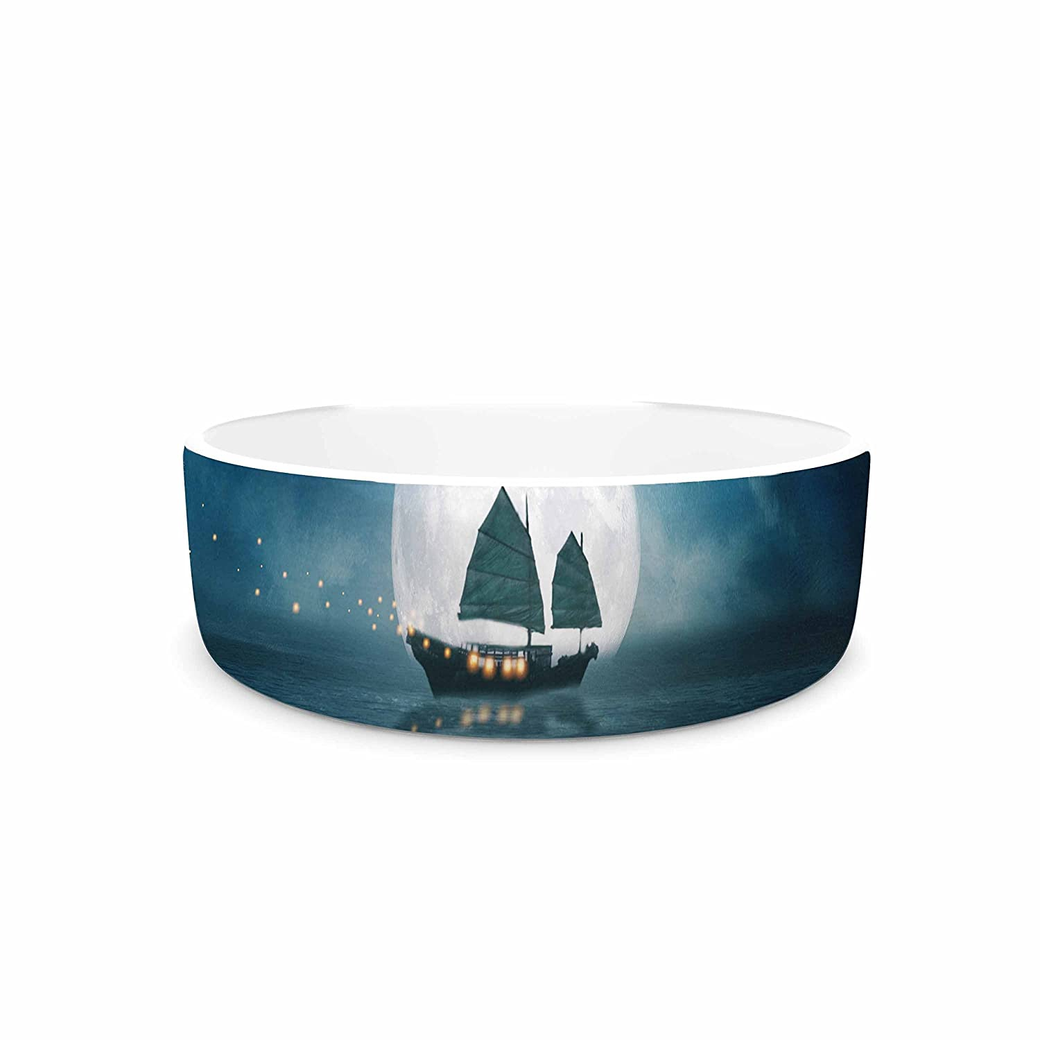 KESS InHouse Viviana Gonzalez Travel Through The Lights bluee orange Digital Pet Bowl, 7