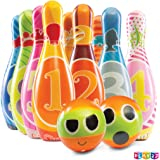 Play22 Kids Bowling Set with Carrying Bag - Colorful 12 Piece Toy Bowling Set - Sturdy Soft Foam Set - Includes 10 Pins and 2