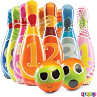 Play22 Kids Bowling Set with Carrying Bag - Colorful 12 Piece Toy Bowling Set - Sturdy Soft Foam Set - Includes 10 Pins…