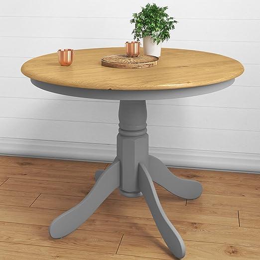 Mesa de comedor redonda Rhode Island gris: Amazon.es: Hogar
