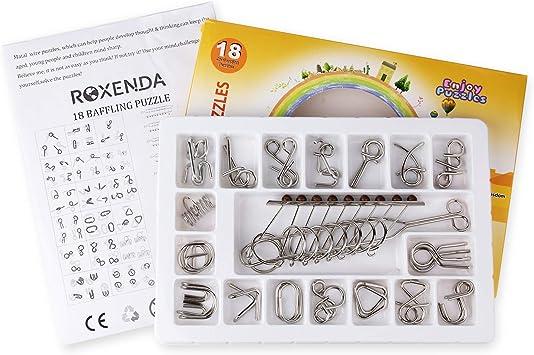 Roxenda Metal Wire Puzzle Juego de 18, Metal Wire Unlock Brain ...