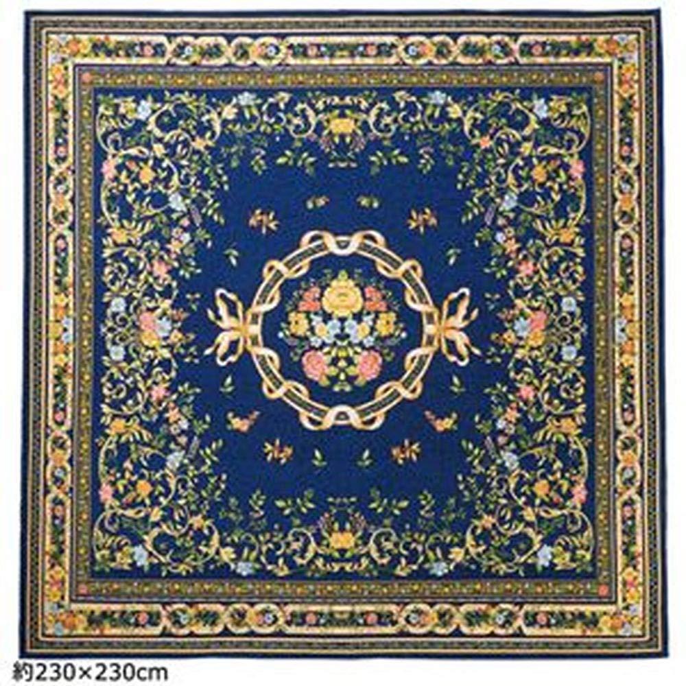 ゴブラン織ラグマット/絨毯-ネイビー2畳約185cm×185cm-ブーケ柄ホットカーペット床暖房対応防滑加工 B07T3P6NN6