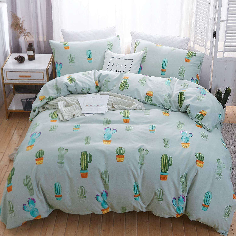 LAMEJOR Duvet Cover Set Queen Size Cartoon Cactus Pattern Comforter Cover Bedding Set (1 Duvet Cover+2 Pillowcases) Light Teal