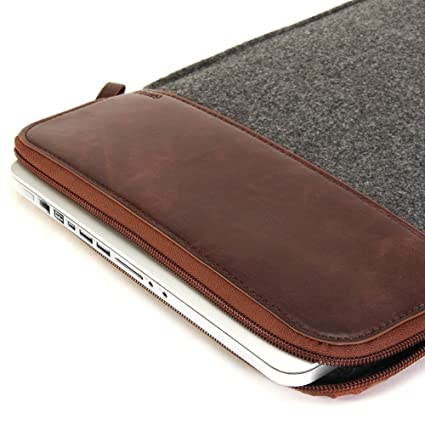 classic fit bce3e e3b06 GMYLE Felt Sleeve Perfect for Old MacBook Pro Retina 15 inch (A1398) &  MacBook Pro 15 inch (A1286) - Dark Grey & Brown Soft Bag Case Cover