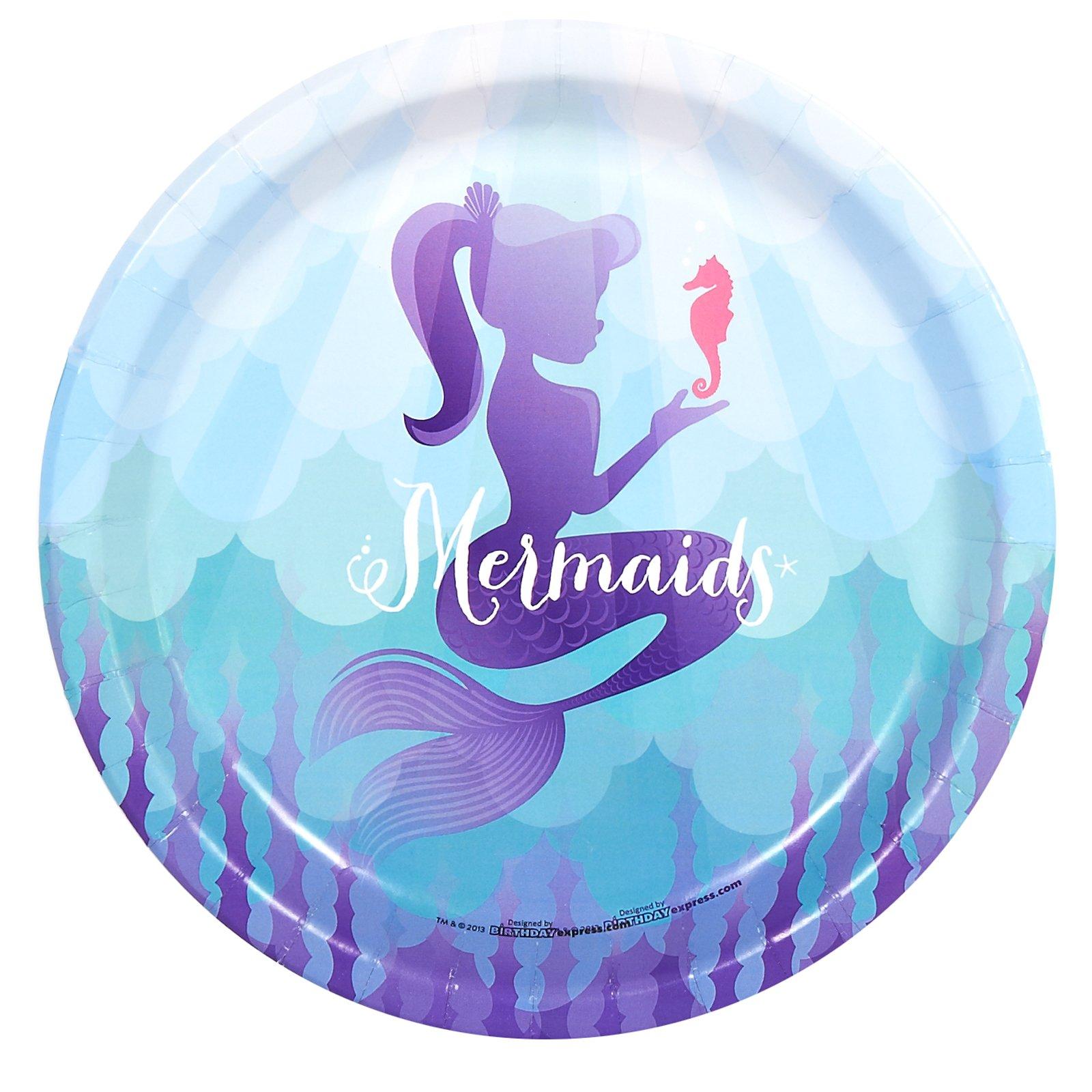 BirthdayExpress Mermaids Under the Sea Party Supplies - Dinner Plates (48)