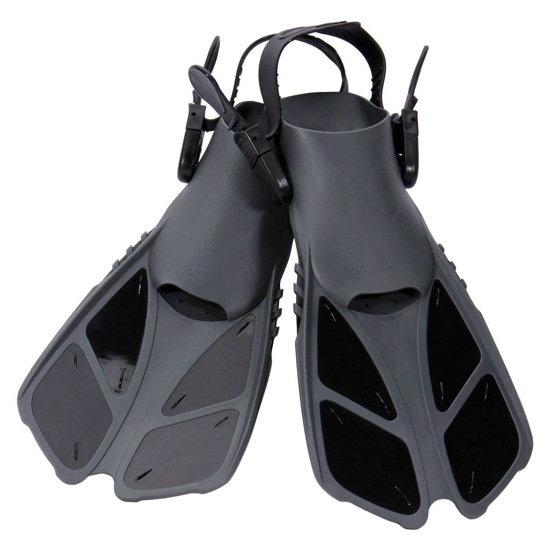 CAPAS Snorkel Fins, Swim Fins Travel Size Short Adjustable for Snorkeling Diving Adult Men Womens Kids Scuba Open Heel Swimming Flippers (Black, S/MD(Kids JR 9-13))