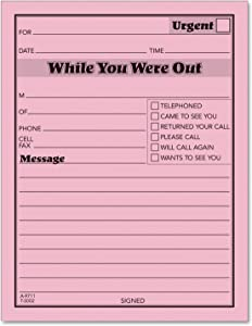 TOPS While You Were Out One-Sided Note Pads, 4.25 x 5.5 Inches, Pink, 50 Sheets per Pad, 12 Pads per Pack (3002P)