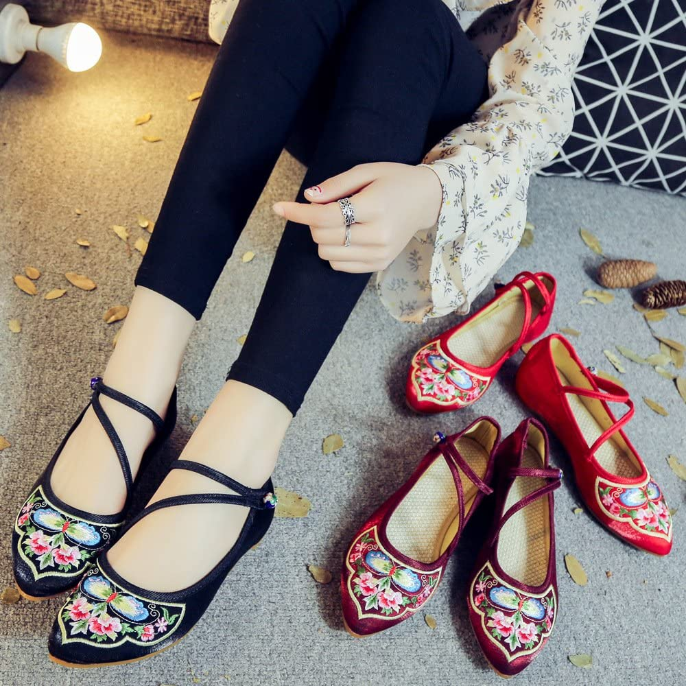 Tianrui Crown Women and Ladies The Butterfly Embroidered Sandals Cheongsam Flat Shoes