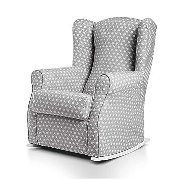 SUENOSZZZ-ESPECIALISTAS DEL DESCANSO Olivia Sillon tapizado, sillón Lactancia Materna. Sillon tapizado en Tela Estampada Color Gris, Estrellas ...