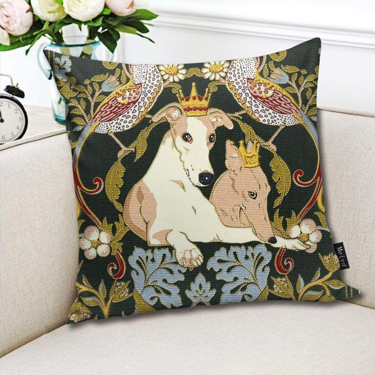 BLUETOP Whippets and Strawberry Thieves Pillow Cover 18 x 18 inch Winter Holiday Farmhouse Cotton Cushion Case Decoration for Sofa Couch