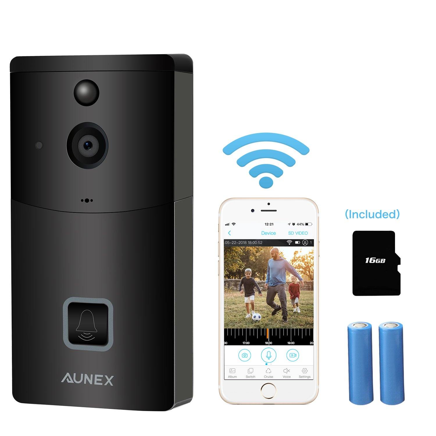 Video Doorbell Wireless Smart 720P HD Security Camera Doorbell with 16G Card 2 Batteries Support 2-Way Talk Wide Angle PIR Motion Detection Night Vision and App Control for iOS and Android - Silver AUNEX