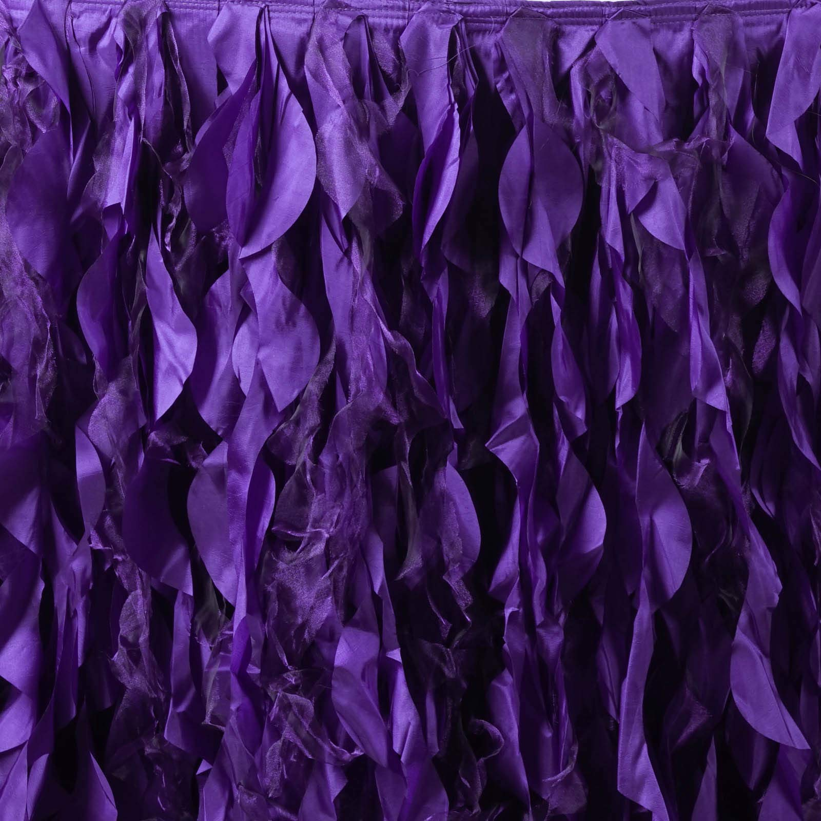 Efavormart 14ft Enchanting Curly Willow Taffeta Table Skirt for Kitchen Dining Catering Wedding Birthday Party Events - Purple by Efavormart.com (Image #3)