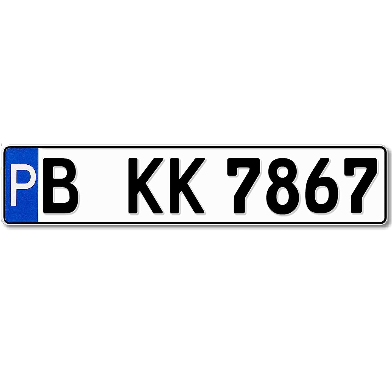 Segno di parcheggio numero di targa 520 x 110 mm, catarifrangente, Richiesta targa, Con testo a scelta, Nome o Str Hausnr kennzeichen-shop24-de