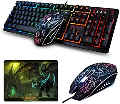 UrChoiceLtd Teclado Ratón Combo Arco Iris Retroiluminado Multimedia USB Gaming Teclado + Cable 2400dpi 4 Botones óptico LED USB Gaming Mouse Juegos + ...