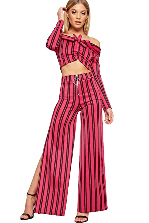 62e79a9226 WearAll Women's Striped Print Long Sleeve Ladies Crop Top Palazzo Trousers  CO-Ord Set -