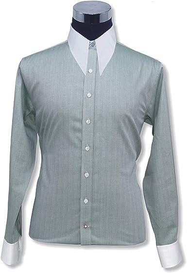 WhitePilotShirts Hombre Spear Punto Vintage Cuello de Camisa Verde Espiguilla Algodón 1930s WWII Clásico para Hombre Nuevo 1930s 1940s 100-27 - Verde Espiguilla #100-27, 14.5: Amazon.es: Ropa y accesorios