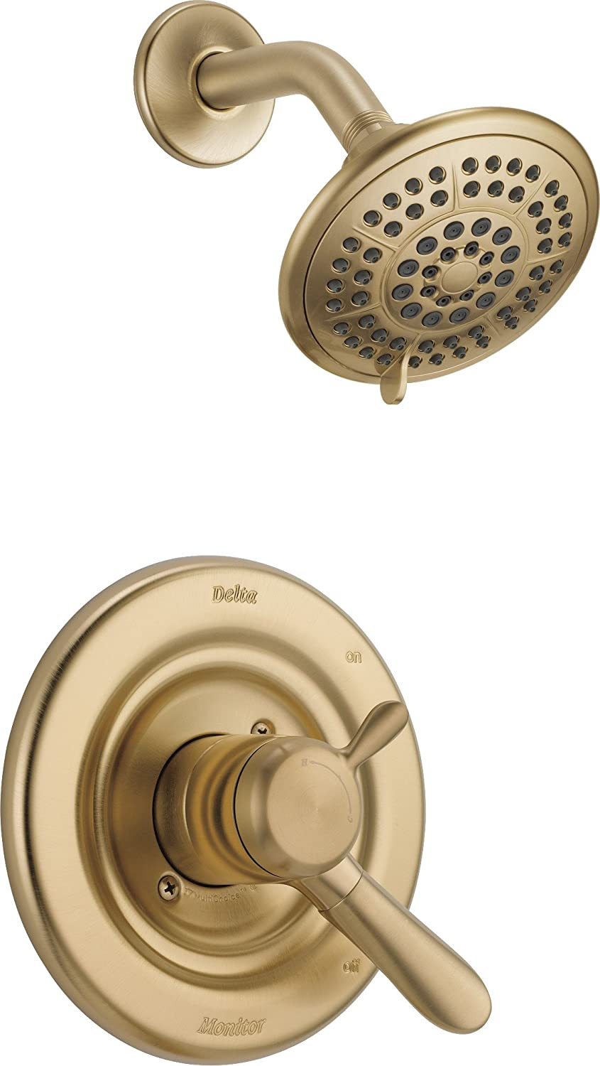 Delta Faucet Lahara 17 Series Dual-Function Shower Trim Kit with 5-Spray Touch-Clean Shower Head, Champagne Bronze T17238-CZ (Valve Not Included)