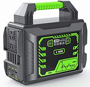 A-MIND Portable Power Station 300w 80000mAh Solar Camping Generators 296Wh Lithium Battery Power Supply Pure Sine Wave 110v/300w(Peak 600w) AC Outlet QC 3.0 for Outdoors Camping Travel Emergency