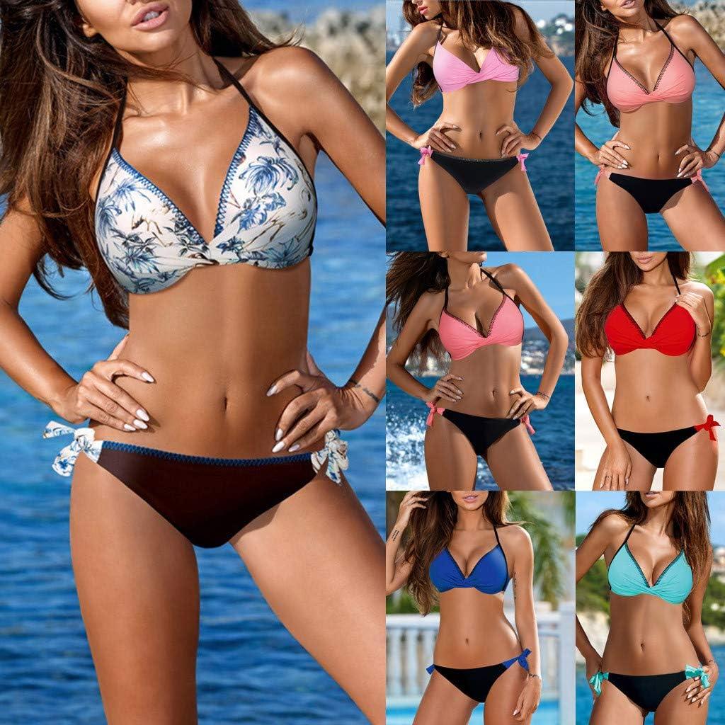 Womens Padded Push Up Bikini Set Tie Side Swimsuit Swimwear Two Piece Halter Bathing Suits