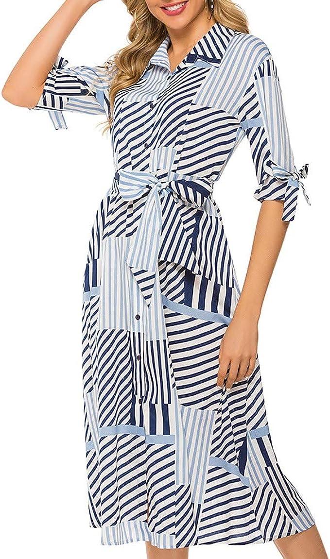 Vestido de Manga Larga SUNNSEAN Falda Larga con Cinturón de Camisa Delgada y Geométrica de Solapa Sexy para Mujer Vestidos de Rayas Moda Vestidos Elegante de Verano Otono Mujer: Amazon.es: Ropa y
