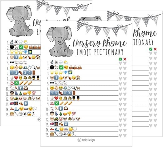25 Elephant Emoji Children/'s Books Pictionary Baby Shower Game Party Ideas...