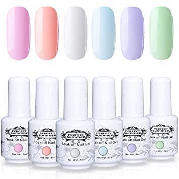 Amazon Com Perfect Summer Semi Permanent Gel Polish 6 Colors Gel