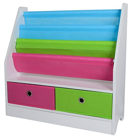Children Sling Bookshelf Bookcase With 2 Canvas Toys Storage Boxes Wood  Book Display Rack Shelves Stand