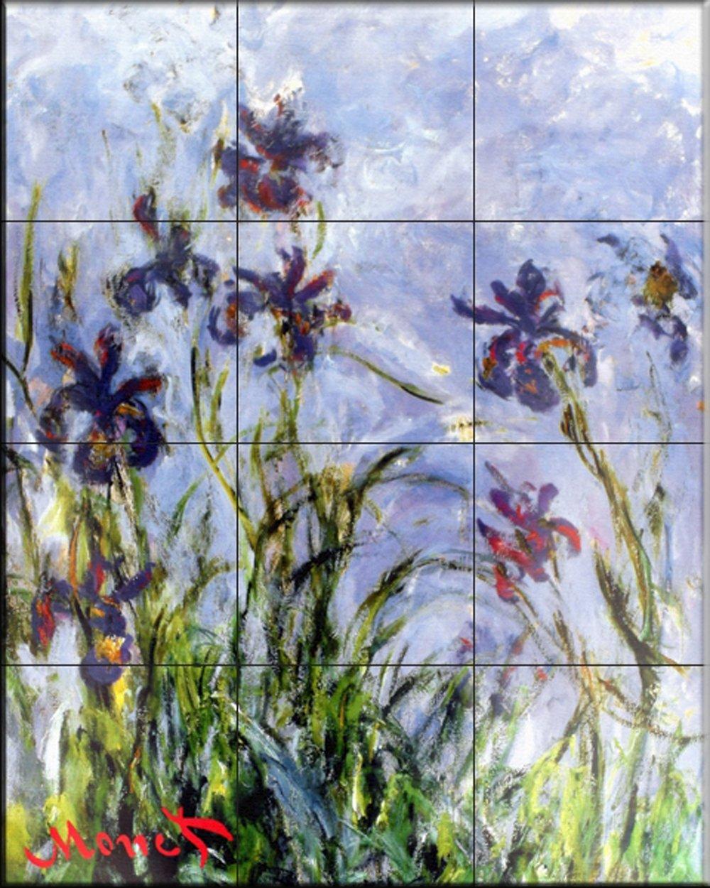 Ceramic Tile Mural - Irises - by Claude Monet - Kitchen backsplash ...