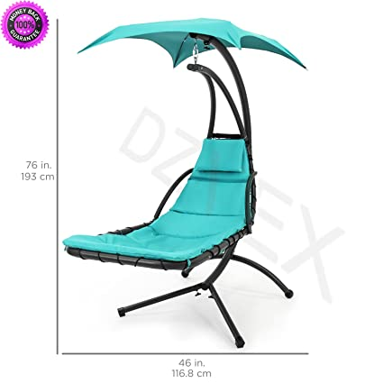 Beau DzVeX Hanging Chaise Lounger Chair Arc Stand Air Porch Swing Hammock Chair  Canopy Teal And Rope