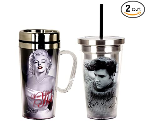 0bc787cb822 Mozlly Value Pack - Marilyn Monroe 16oz Hot Insulated Travel Mug with Handle  AND Elvis Presey