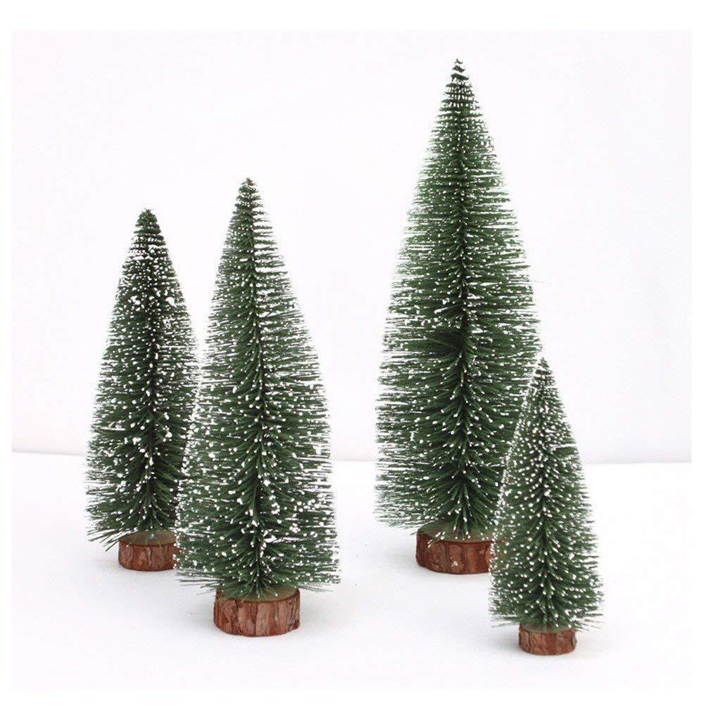 Qiusa Mini decoración de árbol de Navidad, Palo de Cedro Blanco Escritorio Pequeño árbol de Navidad Adorno de Navidad Decoraciones navideñas Venta (Verde, ...